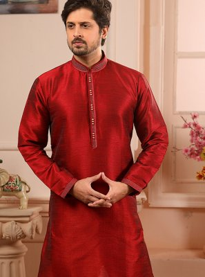 Maroon Embroidered Indo Western