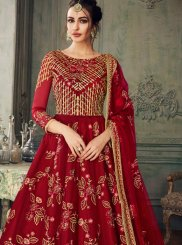 Maroon Embroidered Net Designer Lehenga Choli