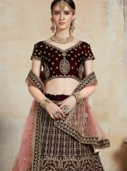 Maroon Embroidered Net Trendy Designer Lehenga Choli