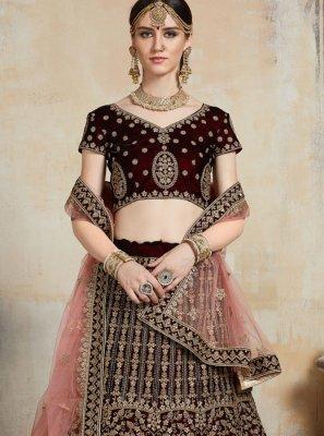 Maroon Embroidered Net Trendy Designer Lehenga Choli