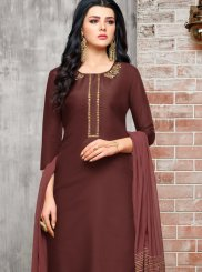 Maroon Embroidered Party Designer Palazzo Suit