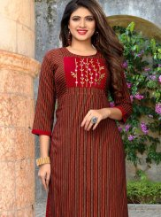 Maroon Embroidered Party Wear Kurti