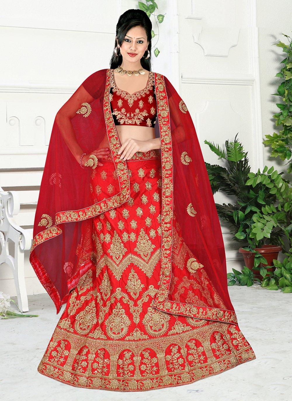 Maroon Embroidered Satin Silk Lehenga Choli