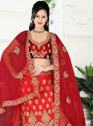 Maroon Embroidered Satin Silk Lehenga Choli