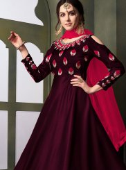Maroon Embroidered Tafeta Silk Anarkali Suit