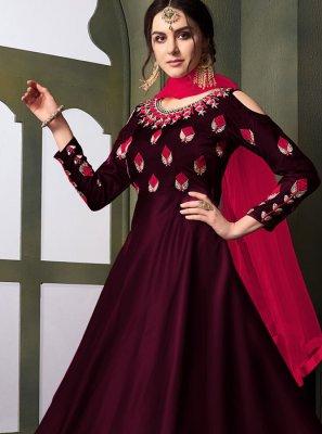 Maroon Embroidered Tafeta Silk Anarkali Suit