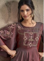 Maroon Embroidered Tafeta Silk Readymade Trendy Gown