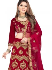 Maroon Embroidered Trendy Lehenga Choli