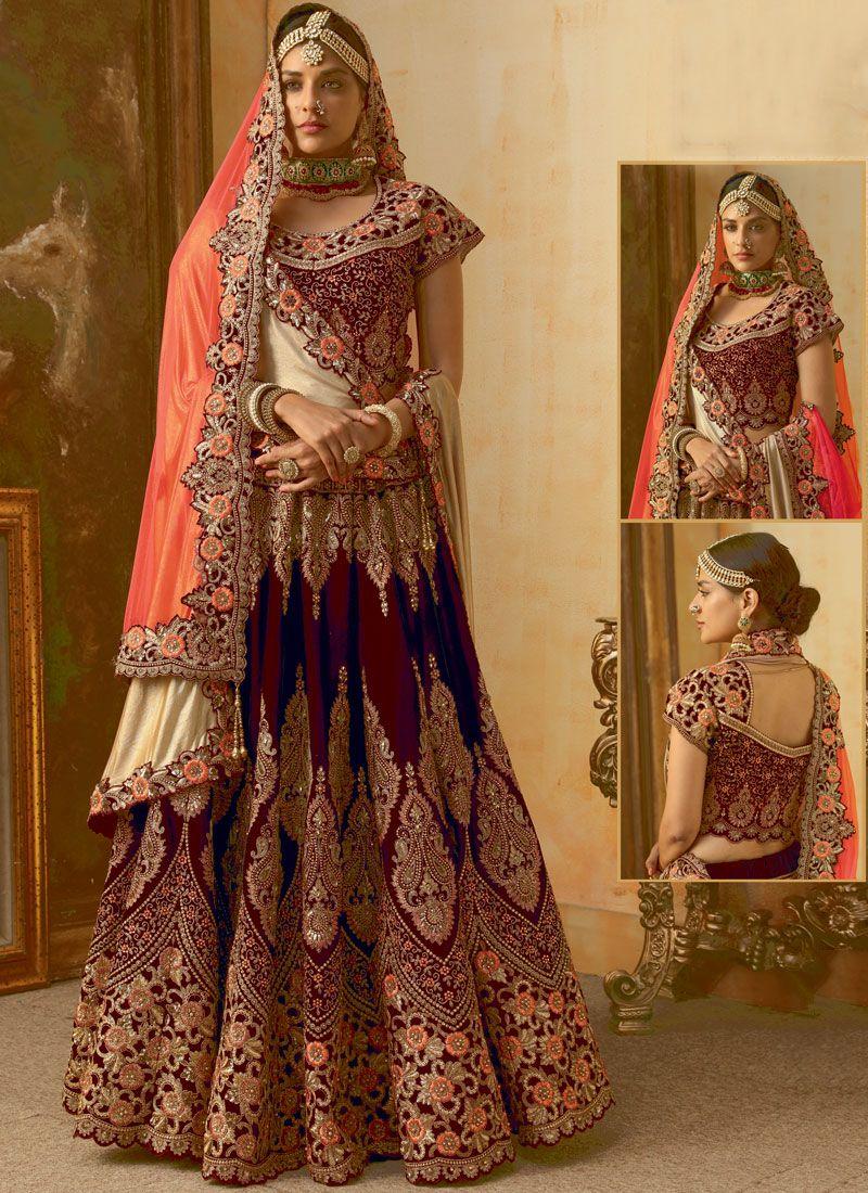 Maroon Embroidered Trendy Lehenga Choli