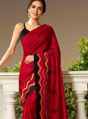 Maroon Embroidered Trendy Saree