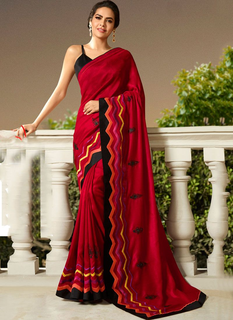 Maroon Embroidered Trendy Saree