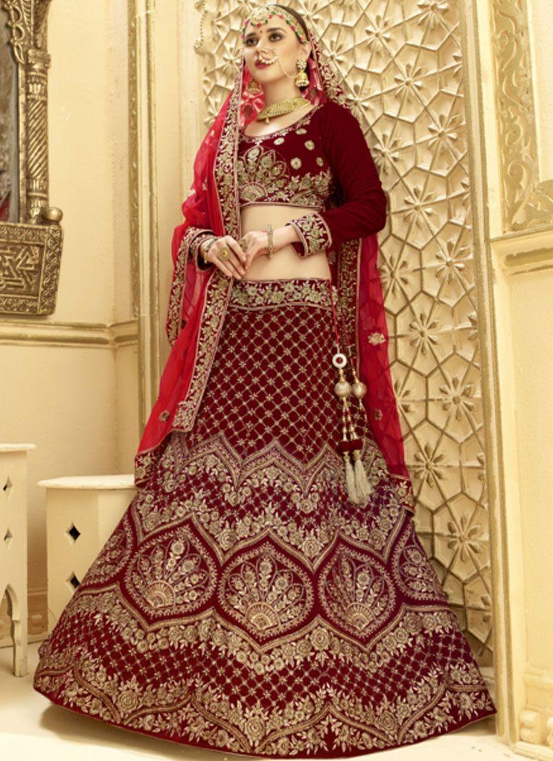 Maroon Embroidered Velvet Lehenga Choli