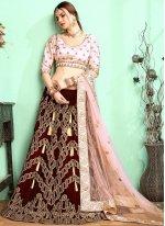 Maroon Embroidered Wedding Designer Lehenga Choli
