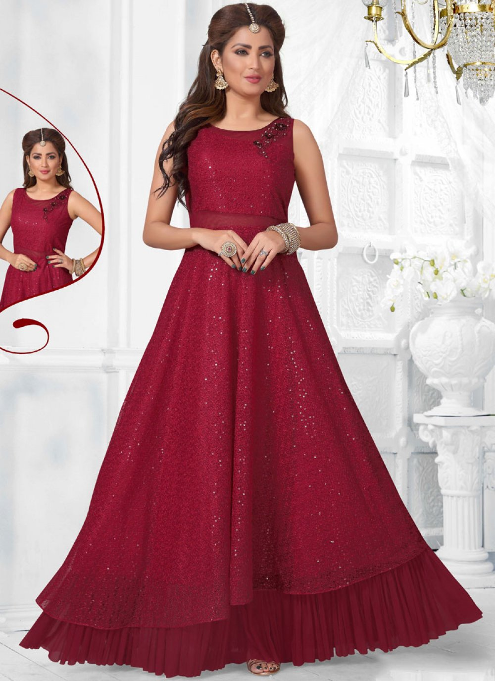 Maroon Fancy Ceremonial Readymade Gown