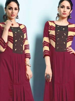 Maroon Fancy Fancy Fabric Party Wear Kurti
