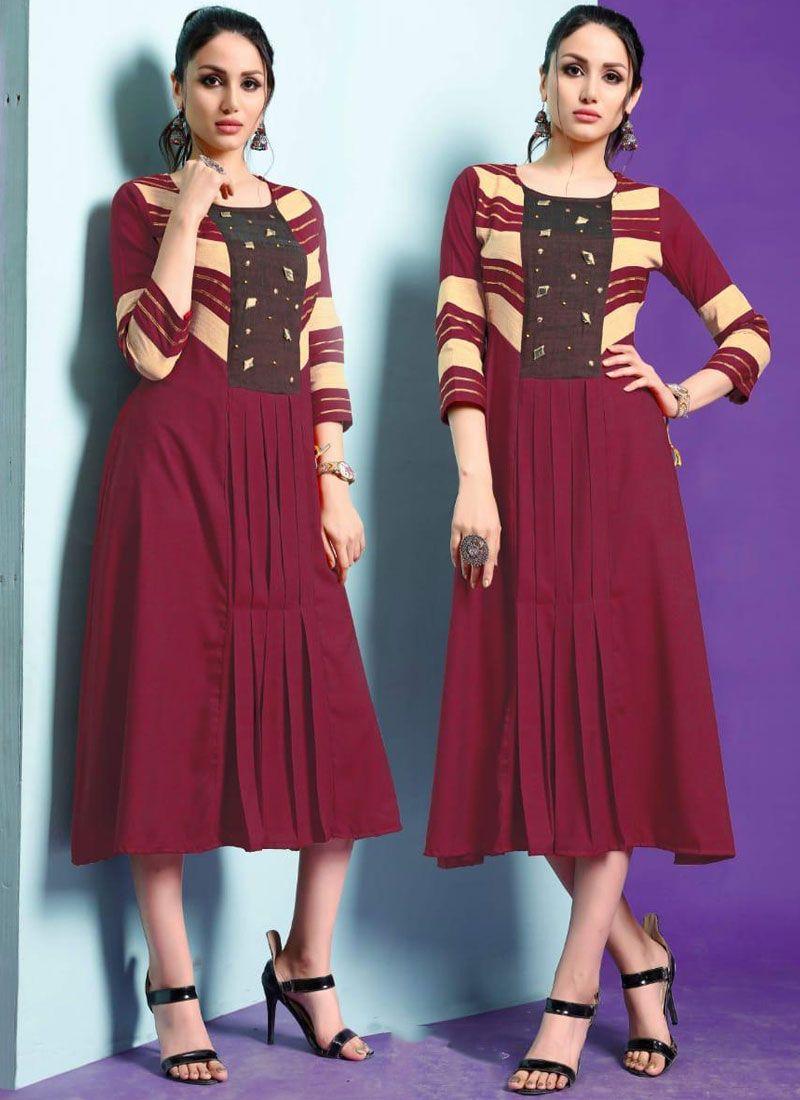 Maroon Fancy Fancy Fabric Party Wear Kurti