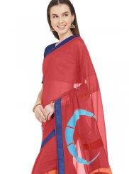 Maroon Faux Chiffon Casual Printed Saree