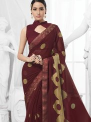 Maroon Faux Chiffon Ceremonial Trendy Saree