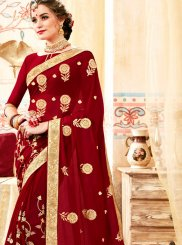 Maroon Faux Georgette Embroidered Classic Saree