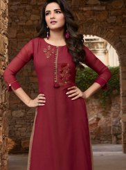 Maroon Faux Georgette Embroidered Party Wear Kurti