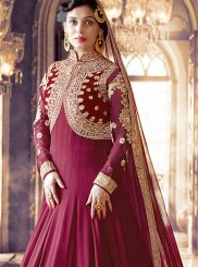 Maroon Faux Georgette Floor Length Anarkali Suit