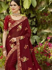 Maroon Faux Georgette Party Classic Designer Saree