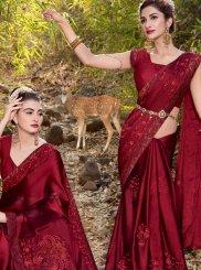 Maroon Faux Georgette Resham Trendy Saree