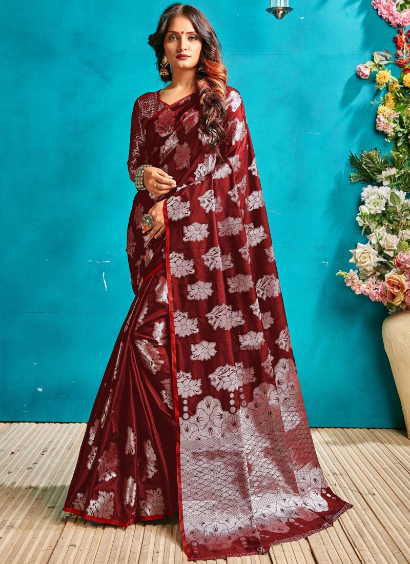 Maroon Festival Art Silk Designer Traditional Saree