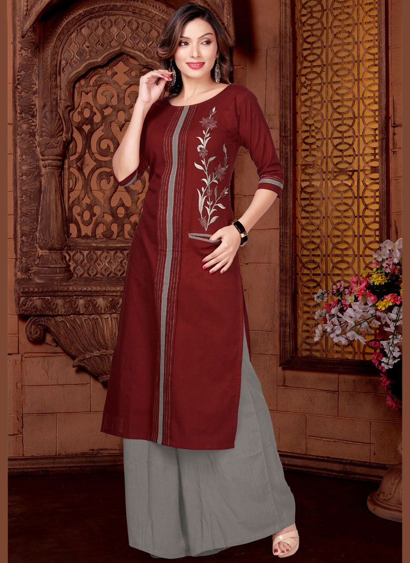 Maroon Festival Cotton   Readymade Suit