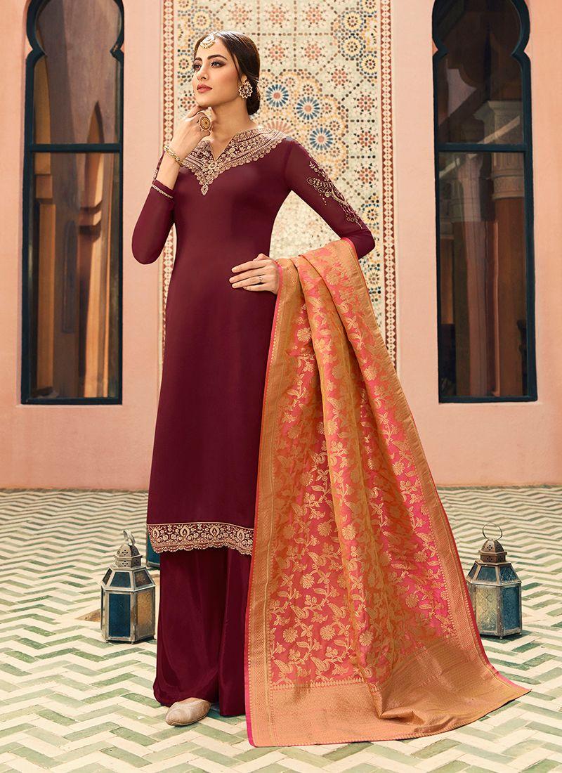 Maroon Festival Georgette Satin Designer Straight Salwar Kameez