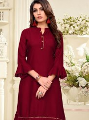Maroon Festival Party Wear Kurti