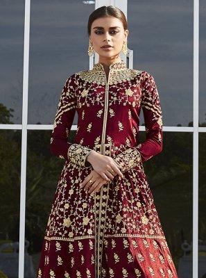 Maroon Floor Length Anarkali Suit
