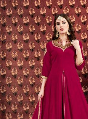 Maroon Georgette Designer Floor Length Salwar Suit
