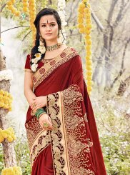 Maroon Georgette Embroidered Classic Saree