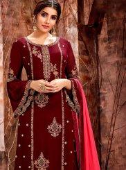 Maroon Georgette Mehndi Designer Straight Salwar Kameez