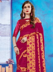 Maroon Georgette Satin Casual Casual Saree