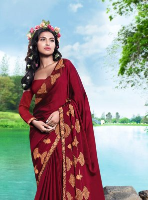Maroon Georgette Satin Embroidered Casual Saree