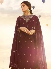 Maroon Georgette Satin Festival Designer Pakistani Suit