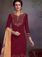 Maroon Georgette Satin Pant Style Suit