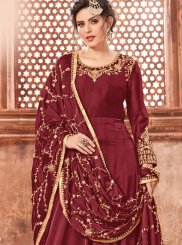 Maroon Georgette Satin Wedding Floor Length Anarkali Suit