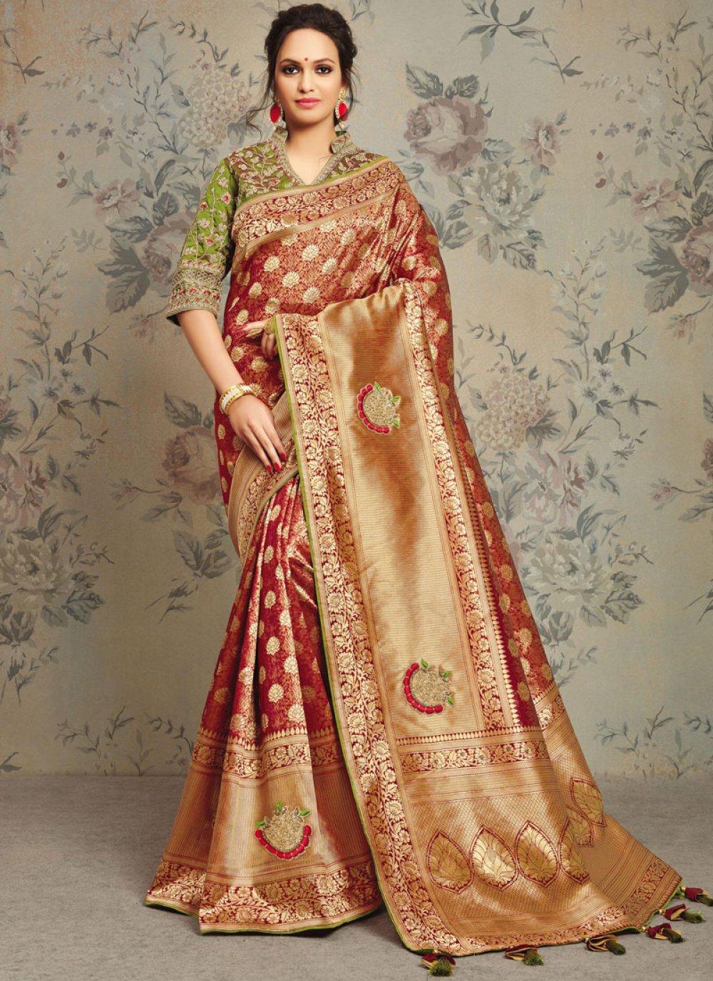 Maroon Jacquard Silk Embroidered Designer Saree