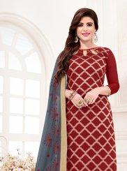 Maroon Jacquard Silk Print Churidar Suit