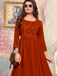 Maroon katha Party Casual Kurti