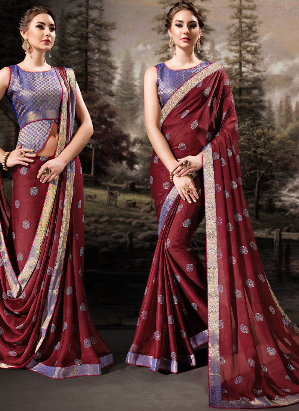 Maroon Lace Banglori Silk Traditional Designer Saree
