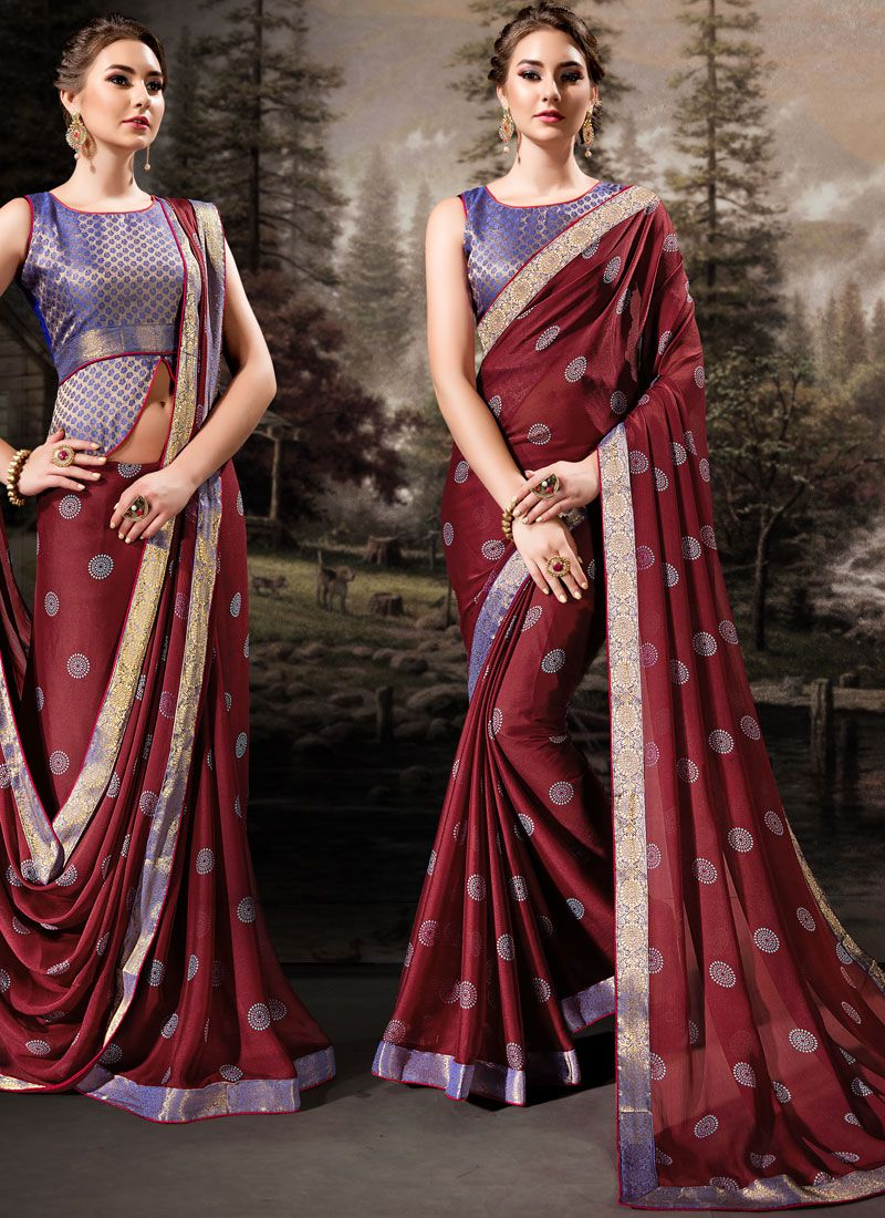 Maroon Lace Banglori Silk Traditional Designer Saree