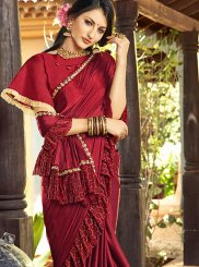 Maroon Lycra Patch Border Saree