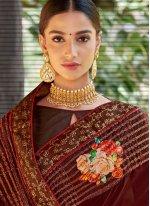Maroon Mehndi Designer Traditional Saree