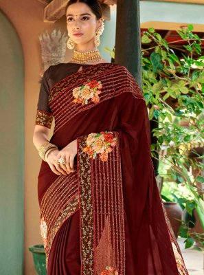 Maroon Mehndi Designer Traditional Saree