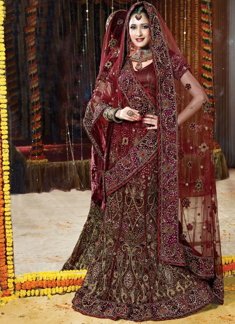 Maroon Net Bridal Lehenga Choli