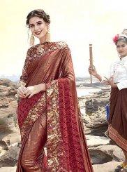 Maroon Net Classic Designer Saree